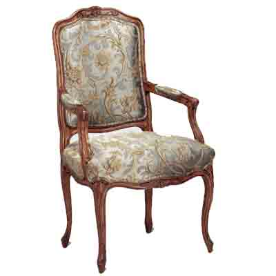 42545 Carved Upholstered Arm Chair