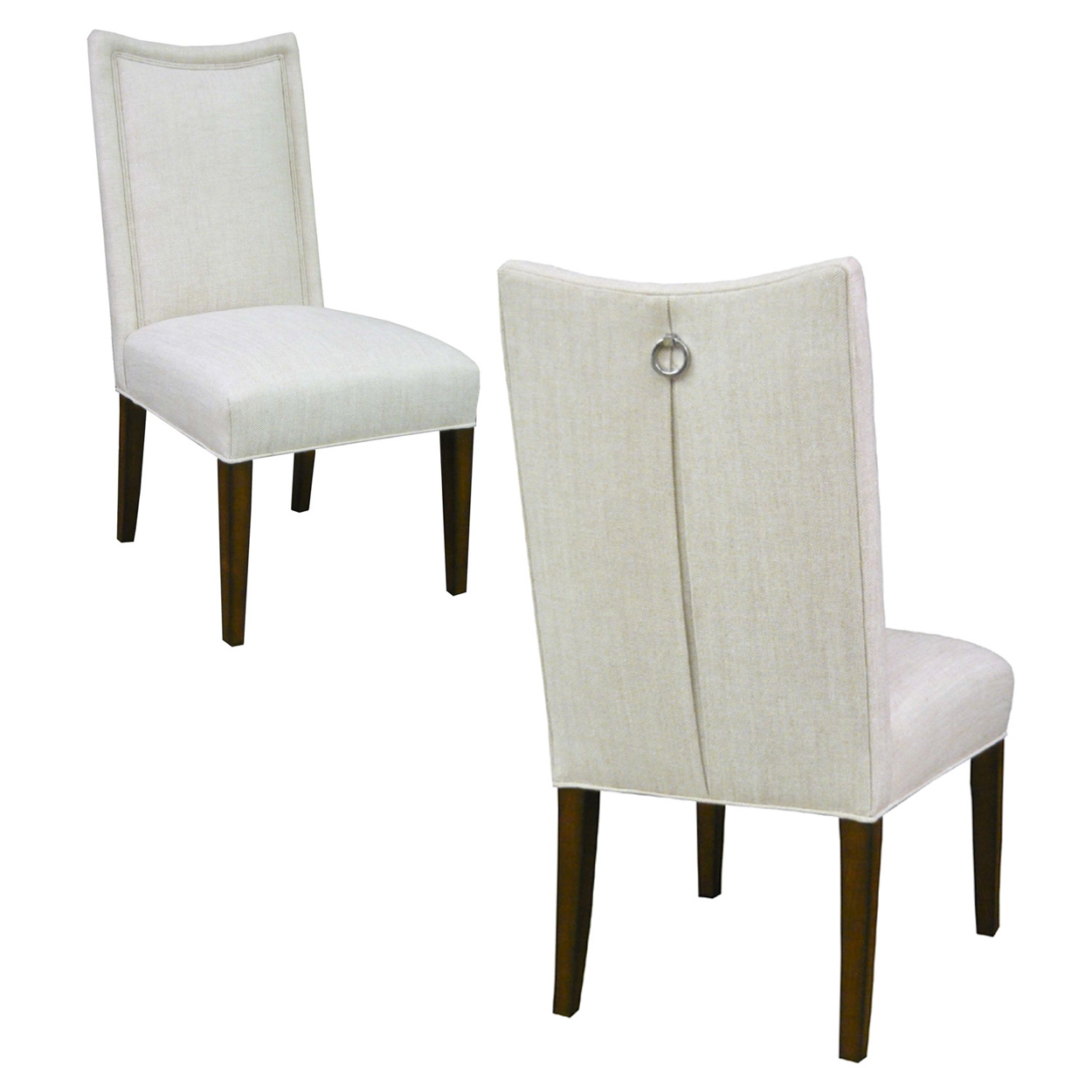 Custom Upholstered Side Chair: Custom Upholstered Side Chair With Pleated Back + Ring Pull