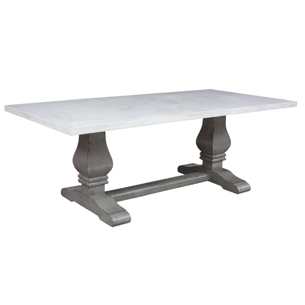 190184 Trestle Dining Table + White Plaster Top