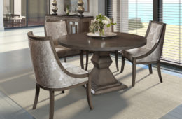 Round Dining Table + Upholstered Chairs