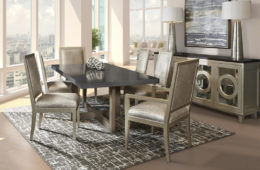 Mirage Dining Table + Upholstered Chairs and Buffet