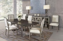 Iron Base Dining Table + Upholstered Chairs and Buffet